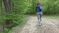 Busty fat redhead strips and plays in forest