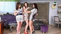 three naked dancing sexy ladies